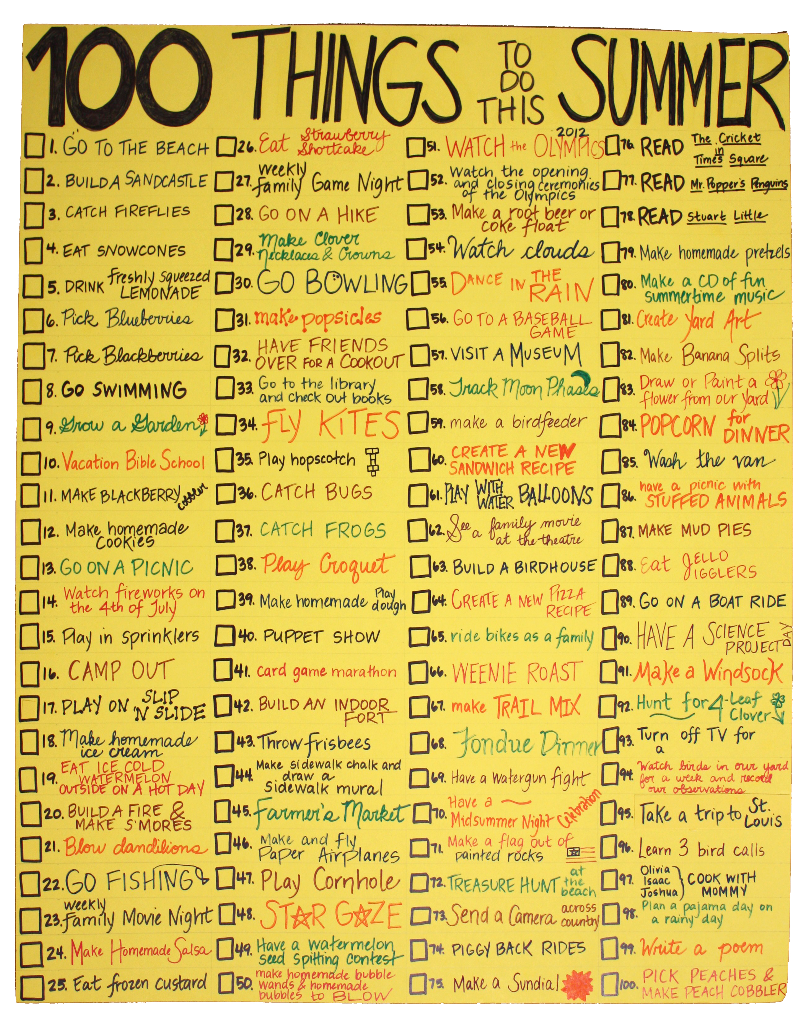 Creativity to do list for the summer scott thorp for Go as you like ideas